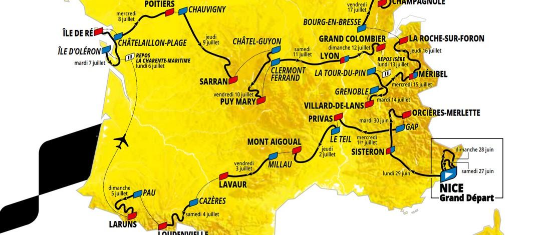 carte du tour de france 2020 à imprimer Tour de France 2020 : de Nice à Paris, voici les 21 étapes de la